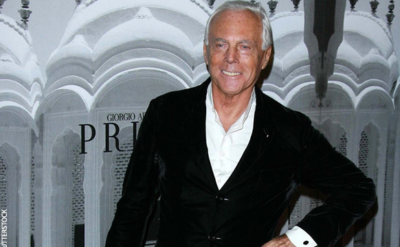 Designerul italian Giorgio Armani