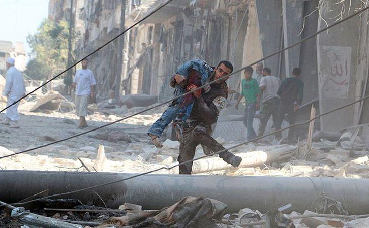 Clădiri distruse în oraşul sirian Alep, 2016.