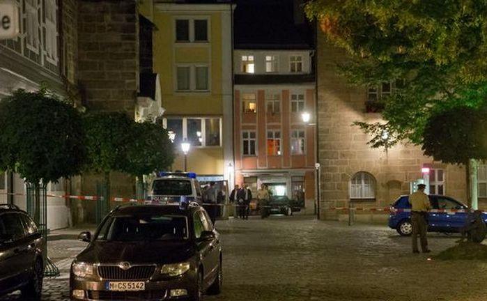 Locul atacului cu bombă în oraşul Ansbach, Germania, 24 iulie 2016.