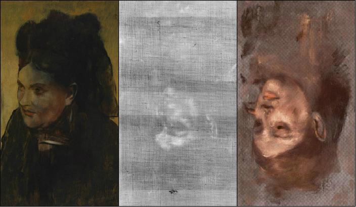 În partea stângă, pictura Portretul unei femei de Edgard Degas, care ascunde  portretul modelului Emma Dobigny. În partea dreaptă, o reprezentare în  culoare falsă a portretului ascuns.