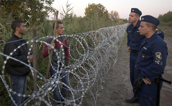 Refugiaţi sirieni discută cu poliţiştii în Roszke, Ungaria, la gardul de sârma ghimpată ridicat de-a lungul frontierei sârbo-ungare, 28 august 2015.