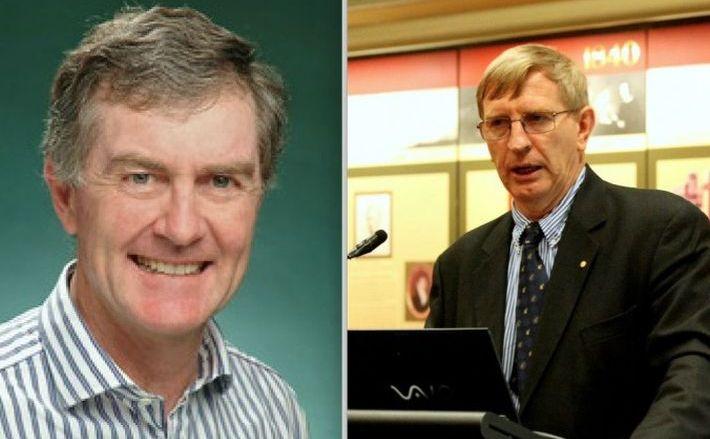 În stânga dr. Philip O'Connell, preşedintele actual al Societăţii pentru Transplanturi si în dreapta dr. Jeremy Chapman, fostul preşedinte ale acestei societăţi.