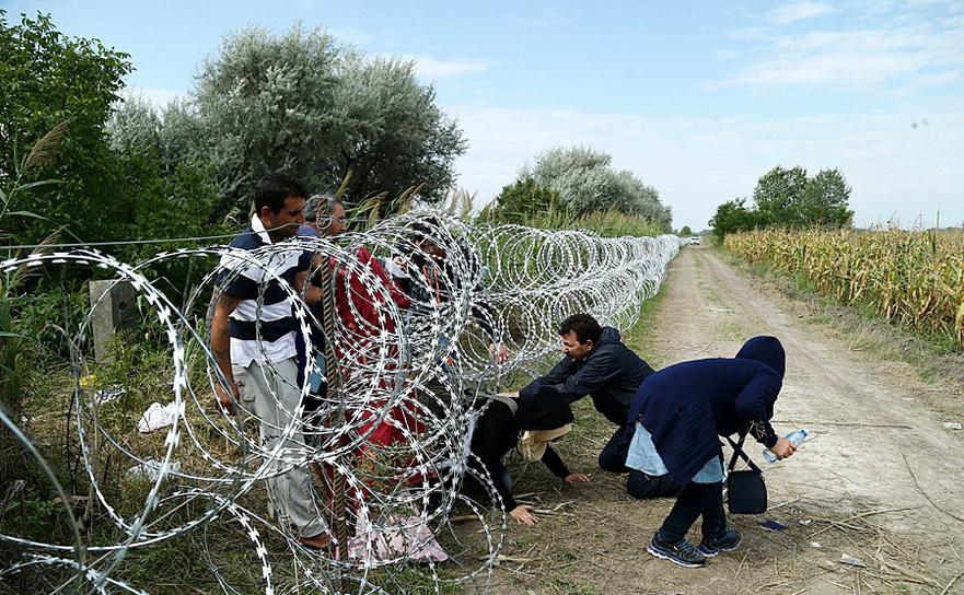 Câţiva imigranţi pătrund ilegal în Ungaria pe sub un gard neterminat ridicat la frontiera sârbo-ungară, 25 august 2015.