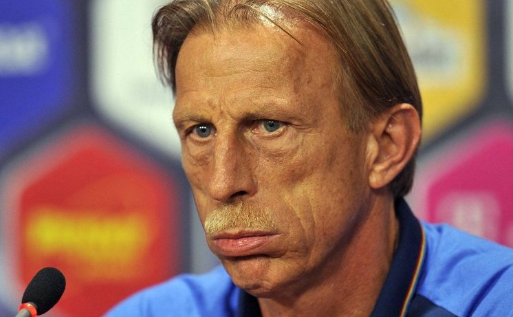 Selecţionerul naţionalei de fotbal a României, Christoph Daum.