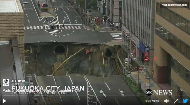 Dolină deschisă în centrul oraşului Fukuoka, Japonia