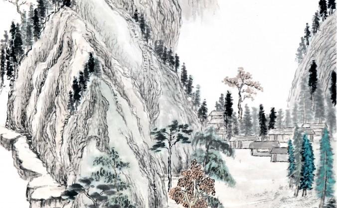 Peisaj chinezesc, pictură