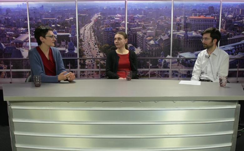 Otilia Nuţu(Expert Forum) şi Ileana Racheru(IDR), în studioul Epoch Times.