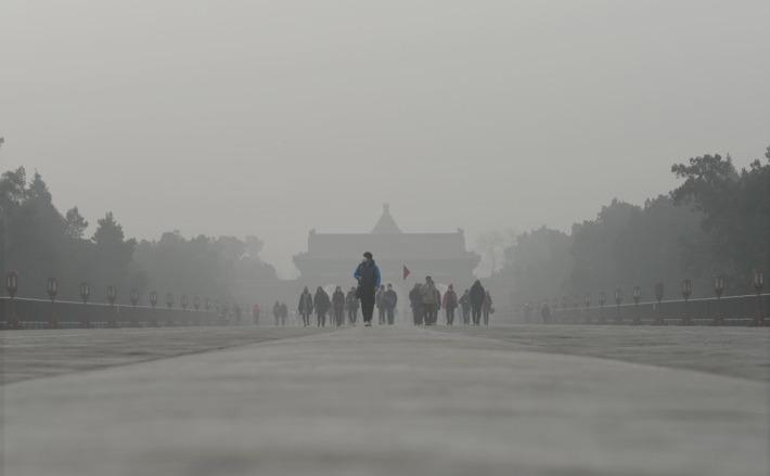 Smog puternic în Beijing, 20 decembrie 2016.