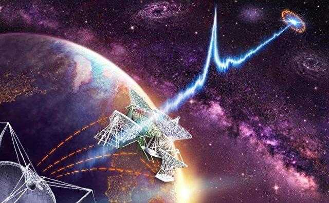 Reprezentare grafică prezentând radio-telescoape globale verticale, care localizează poziţia exactă a flash-ului radio.