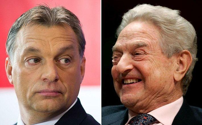 Premierul ungar Viktor Orban (st) şi finanţatorul miliardar George Soros.