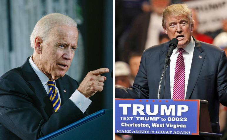 Vicepreşedintele american Joe Biden (st) şi preşedintele ales Donald Trump.