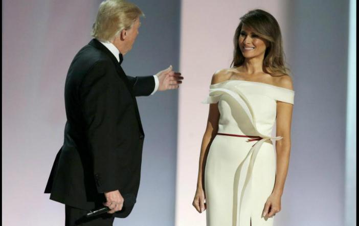 Melania Trump a purtat pentru primul său dans prezidenţial o rochie albă desenată de Hervé Pierre