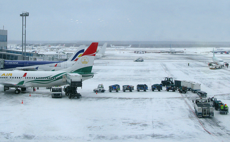 Aeroportul internaţional Domodedovo din Moscova, Rusia.