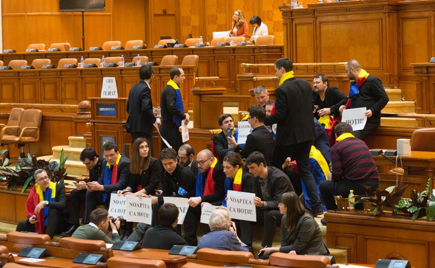Protest al parlamentarilor USR