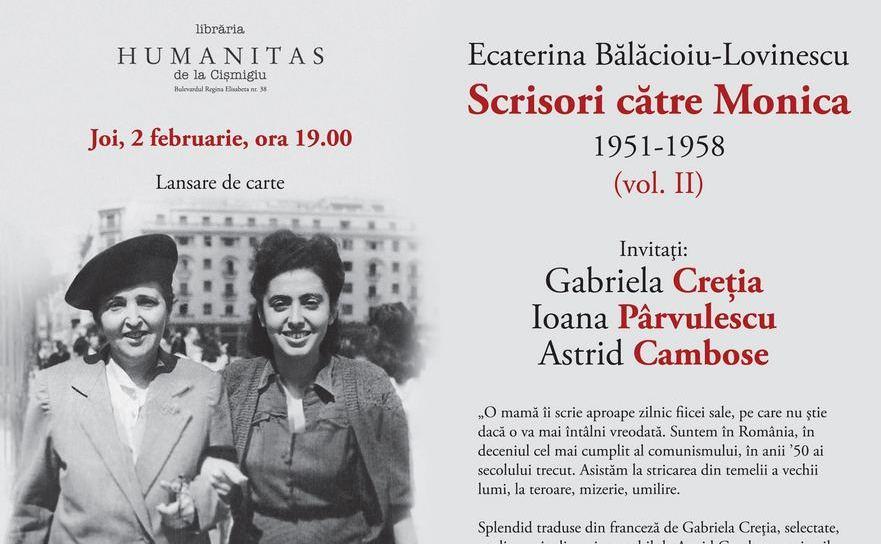 """""""Scrisori către Monica""""-lansarede cartela Humanitas Cişmigiu"""