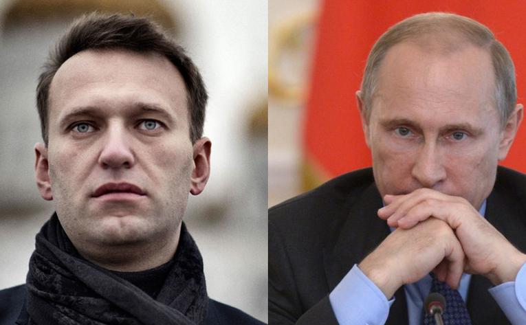 Preşedintele rus Vladimir Putin (dr) şi activistul rus şi opozantul Kremlinului, Alexei Navalni.