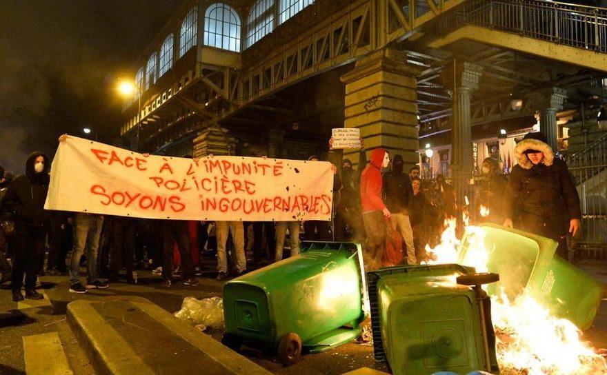 Protest violente într-una dintre suburbiile Parisului, 15 februarie 2017.