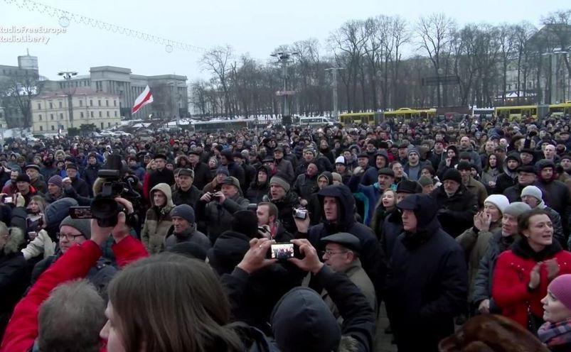 """Protest împotriva legii """"paraziţilor sociali"""" în capitala belarusă Minsk, 17 februarie 2017."""