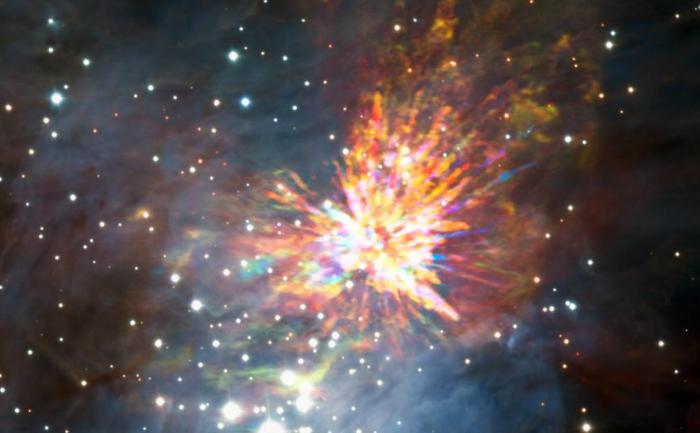 Resturile exploziei sunt vizibile la 1.350 de ani lumină, în nebuloasa Orion