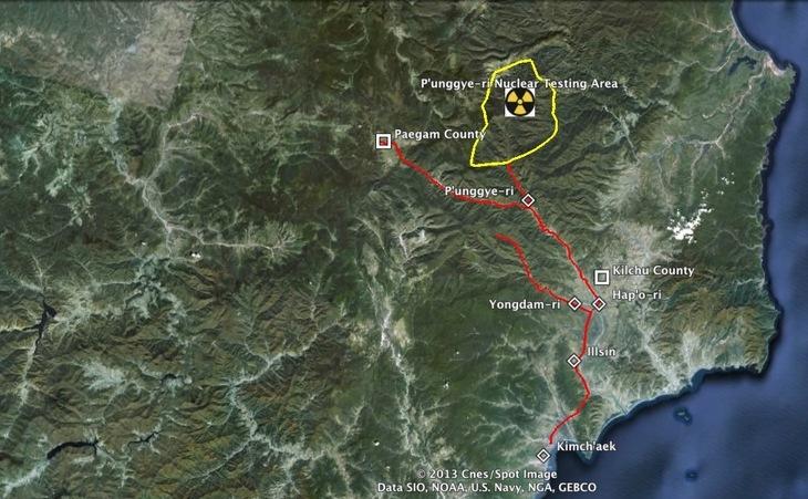 Imagine generală a zonei care înconjoară centrul nord-coreean de testări nucleare Punggye-ri, districtul Kilchu, provincia nordică Hamgyo'g.