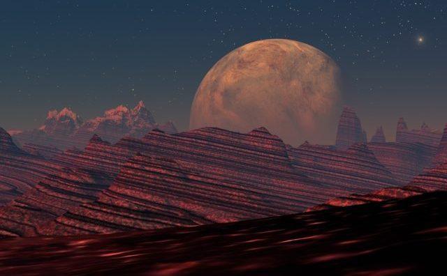 O planetă roşie fictivă.