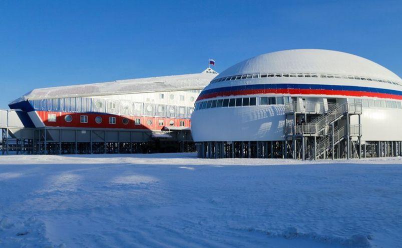 Baza militară rusească Trefoil din zona Arctică.