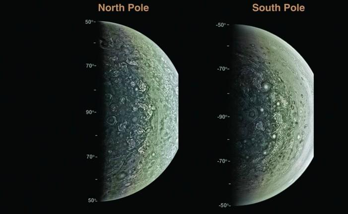 """Imagini ale polilor lui Jupiter luate de sonda """"Juno"""""""