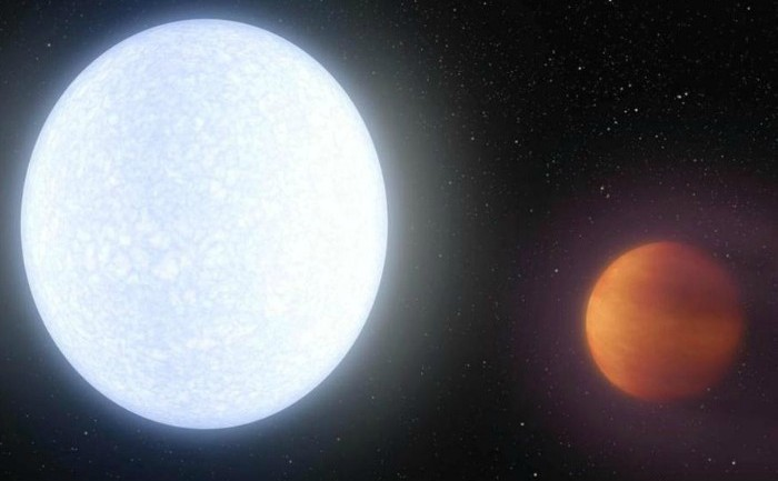 Prezentarea stelei KELT-9 şi a planetei KELT-9b (dreapta)