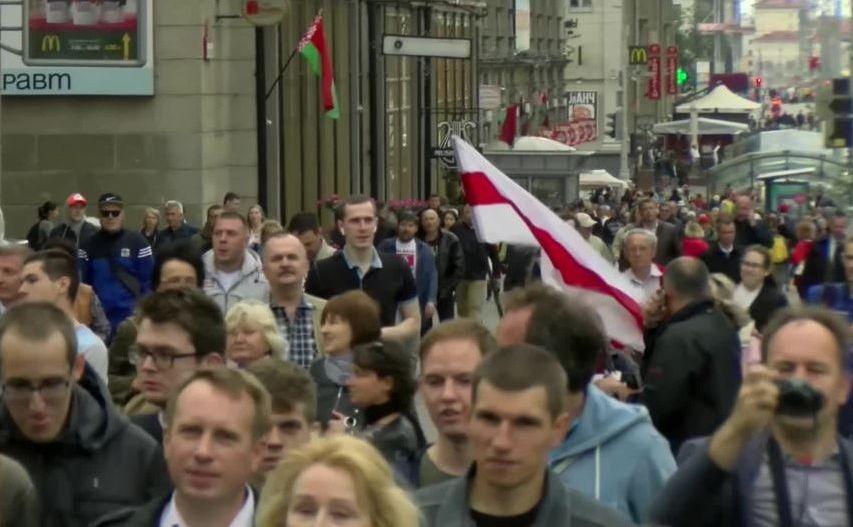 Protest antiguvern în  capitala belarusă Minsk, 3 iulie 2017.