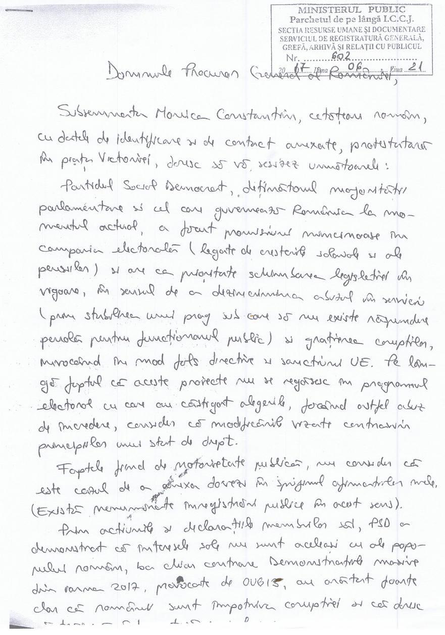 Scrisoarea adresată de Monica Constantin lui Augustin Lazăr