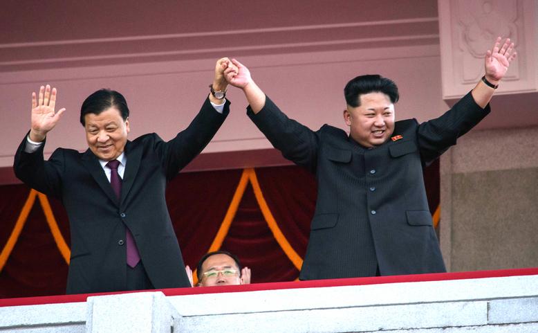 Liu Yunshan împreună cu dictatorul coreean Kim Jong Un