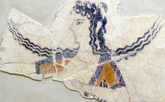 Civilizaţia minoică a fost o civilizaţie din Epoca Bronzului care a apărut pe insula Creta şi a înflorit din aproximativ secolul al XXVII-lea î.Hr. până în secolul al XV-lea î.Hr. (un fragment de frescă care datează din 1600-1450 î.Hr.)