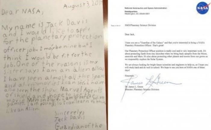 Scrisoarea lui Jack (stânga) şi replica de la NASA publicate pe Twitter