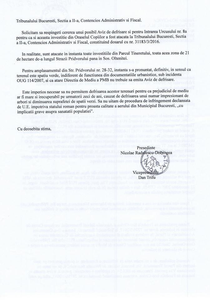 Notificarea Eco-Civica către Primăria Capitalei