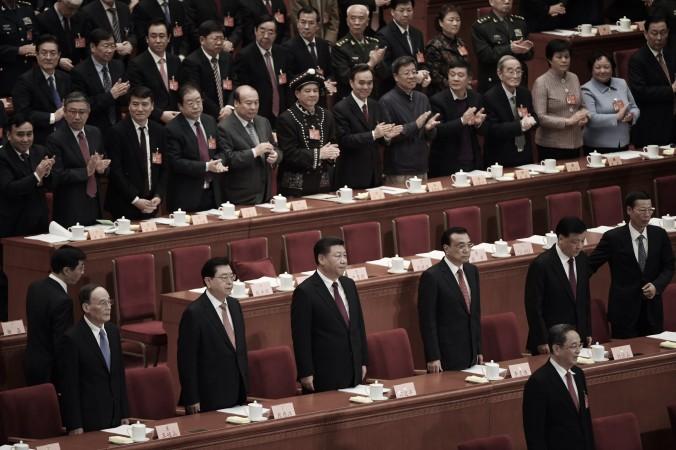 Membrii Comitetului permanent al Biroului Politic,Politburo: Wang Qishan, preşedintele Congresului Naţional al Poporului, Zhang Dejiang, liderul chinez Xi Jinping, premierul Li Keqiang, membrul Comitetului permanent al Politburo Liu Yunshan şi membrul Politburo Zhang Gaoli la Sala Mare a Poporului din Beijing, 2017