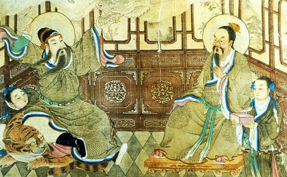 Reprezentare din secolul al nouăsprezecelea a marelui medic Sun Simiao (581 - 682), aşezat pe un tigru.