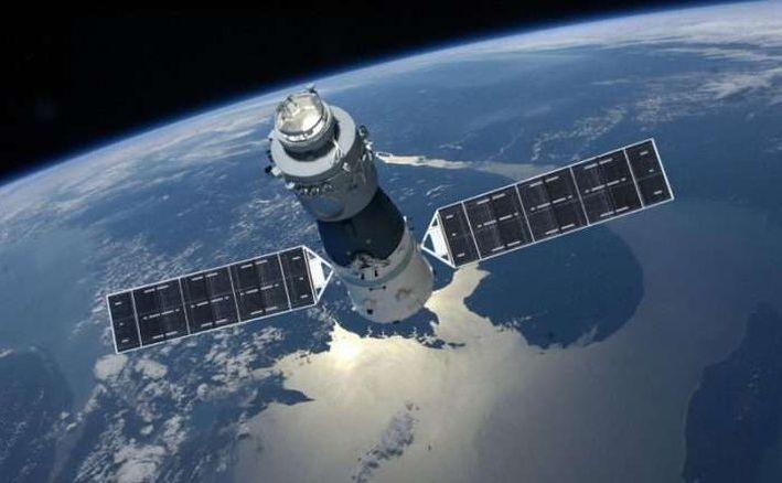 Staţia spaţiala chineză Tiangong-1 ilustrată de un artist.