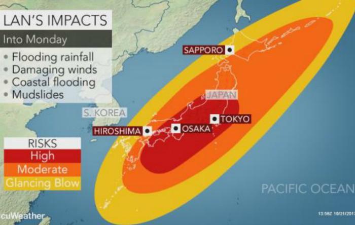Taifunul Lan ameninţă Japonia