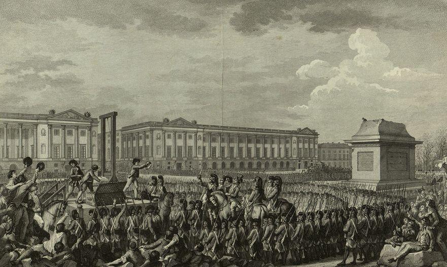 Gravură ilustrând execuţia regelui Ludovic al XVI-lea în timpul Revouţiei Franceze