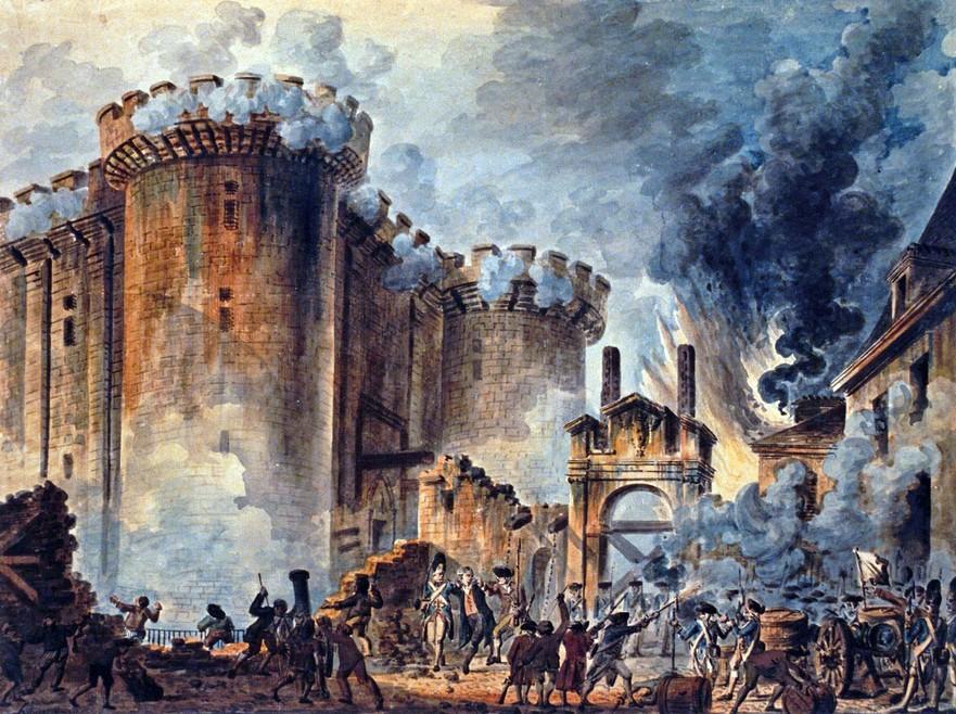 """""""Căderea Bastiliei"""", În centru se poate observa arestarea lui Bernard René Jourdan, marchiz de Launay (1740-1789)"""