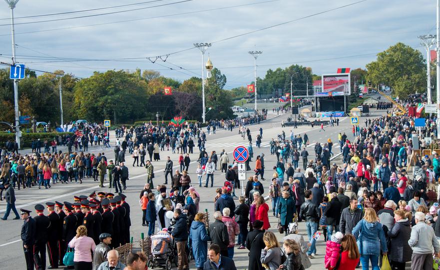 Centrul oraşului Tiraspol în timpul unei sărbători