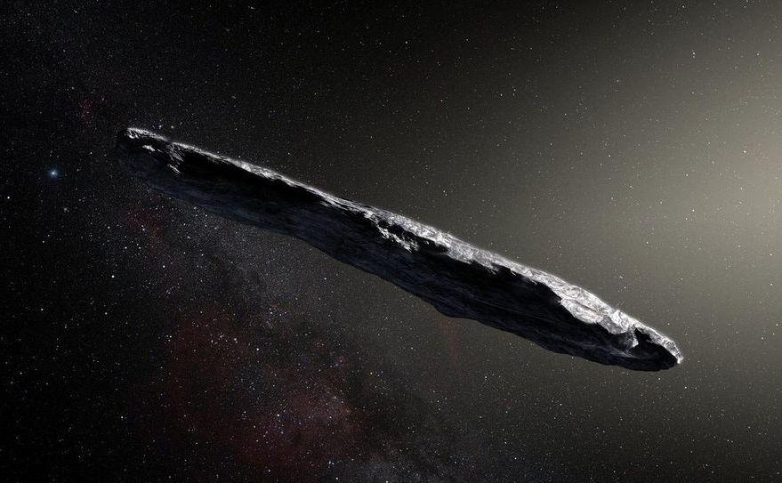 O descriere artistică a obiectului misterios Oumuamua.