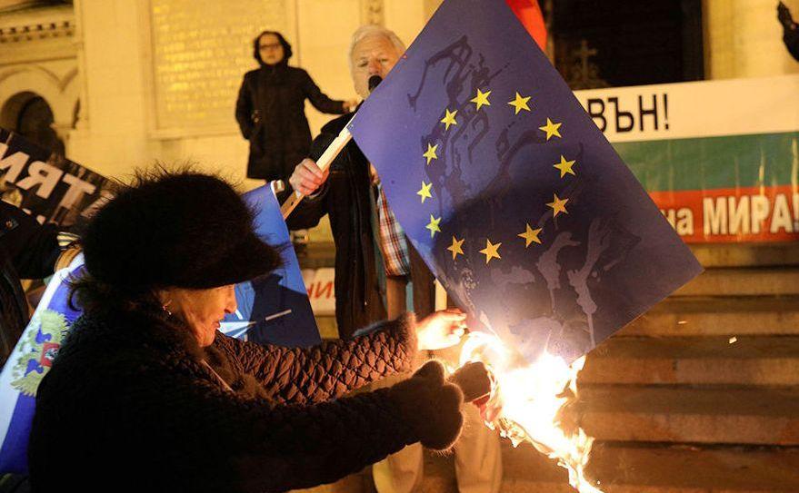 Protest anti-UE în capitala bulgară Sofia, 11 ianuarie 2018.