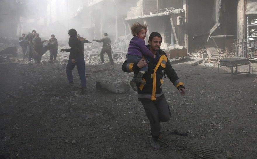 Scenă a luptelor în Ghouta de Est, o enclavă situată în apropiere de capitala siriana Damasc, februarie 2018.