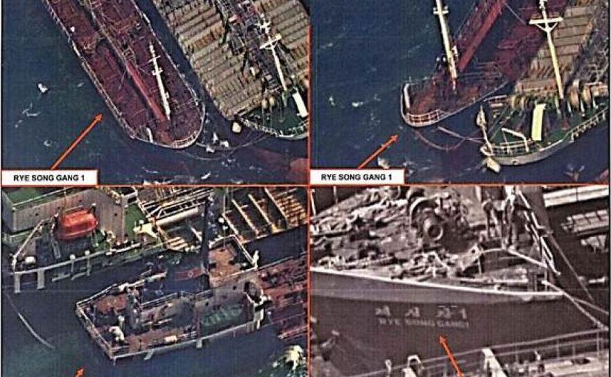 Navă sub pavilion chinez surprinsă transferând ţiţei către un mineralier nord coreean
