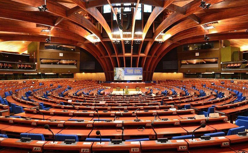 Camera plenară a Adunării Parlamentare a Consiliului Europei în Strasbourg, Franţa.