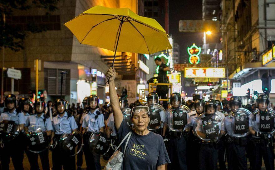 Scenă din timpul protestelor democratice din Hong Kong în 2014.