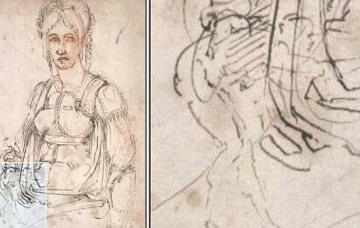 Portretul poetei Vittoria Colonna, British Museum din Londra. În partea dreaptă detaliul caricaturii lui Michelangelo.