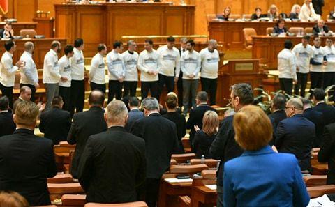 Protest USR în Parlament