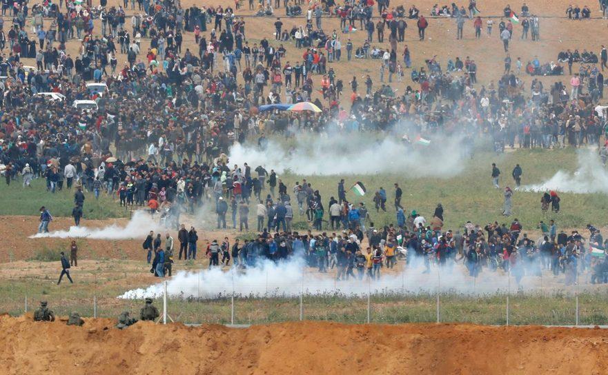 Proteste violente la graniţa dintre Fâşia Gaza şi Israel, 30 martie 2018.